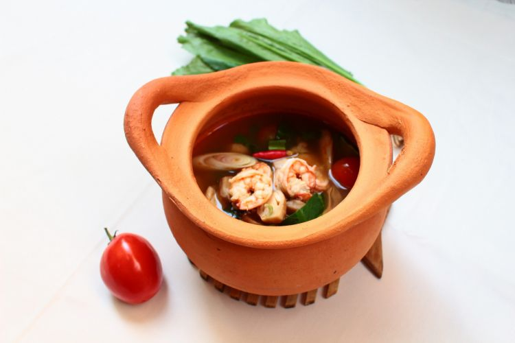 Tom Yum Kung  thai food  in clay pot