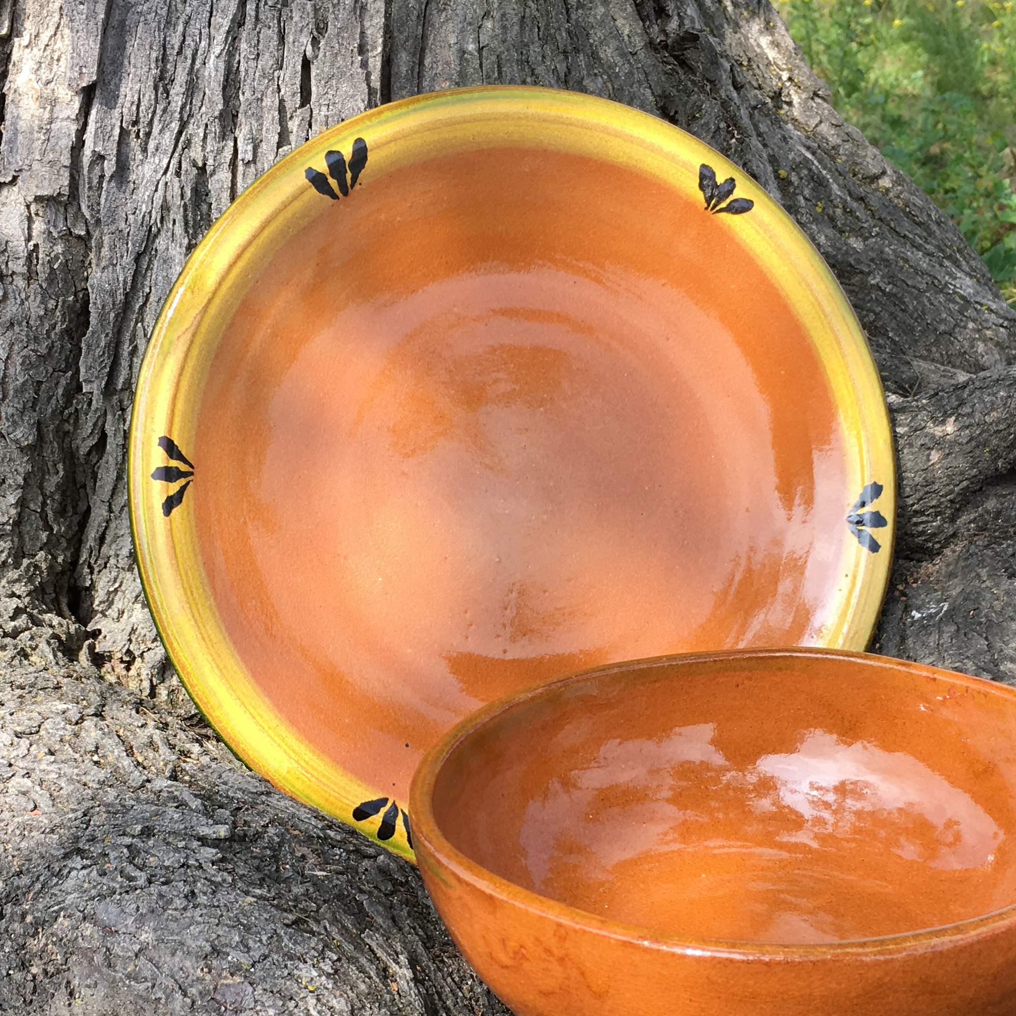 Mexican Clay Plate with a Yellow Rim