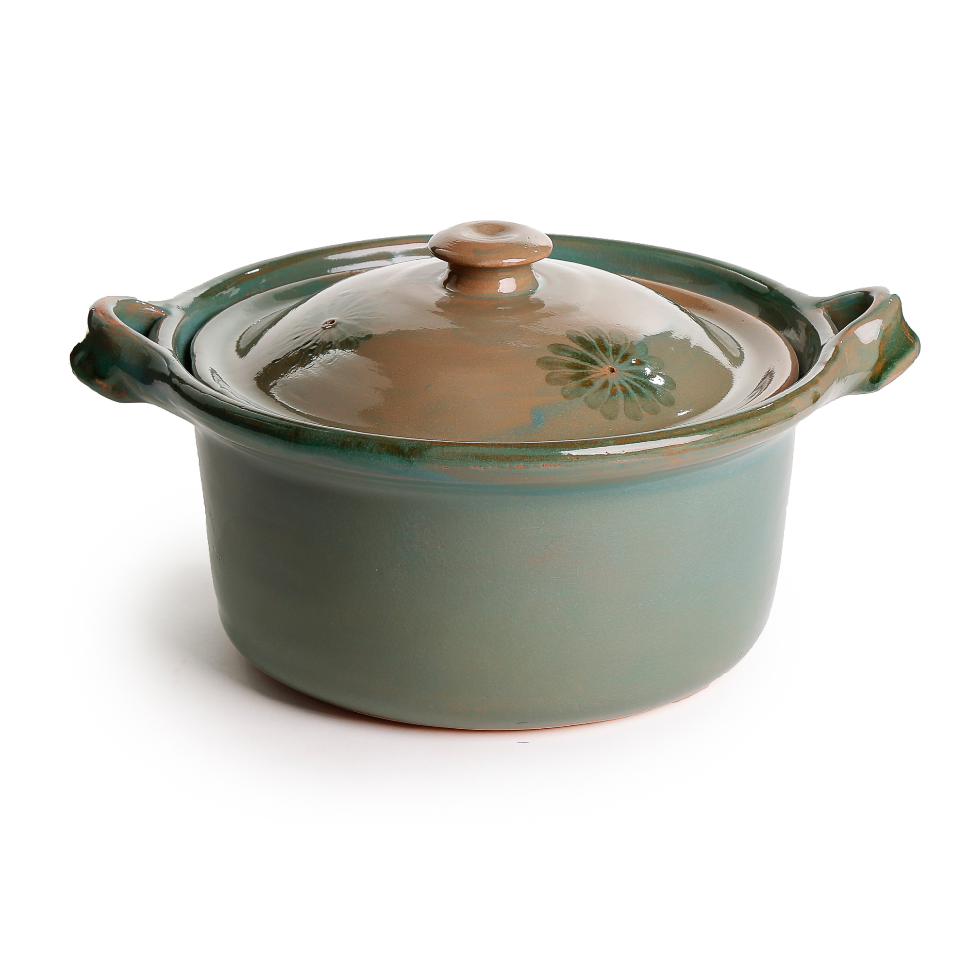 Mexican Lidded Cazuela - Green - Medium