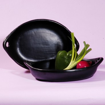 Black Clay, La Chamba Oval Serving Dish with Handles