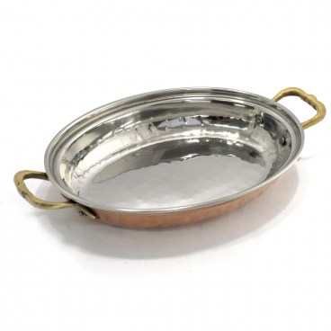 Indian Copper Hammered Muglai Rice Server