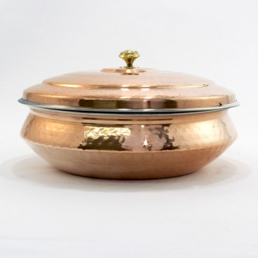 Indian Hammered Copper Hyderabadi Handi with Lid
