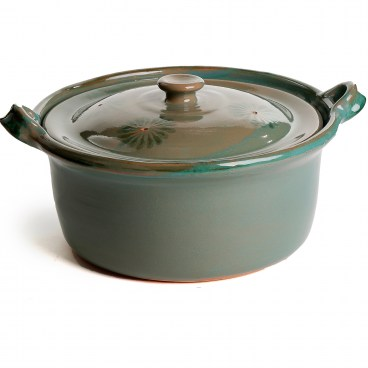 Mexican Lidded Cazuela - Green - Large